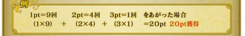 例1pt=9回 2pt=4回 3pt=1回 をあがった場合(1×9)+(2×4)+(3×1)=20pt 20pt獲得