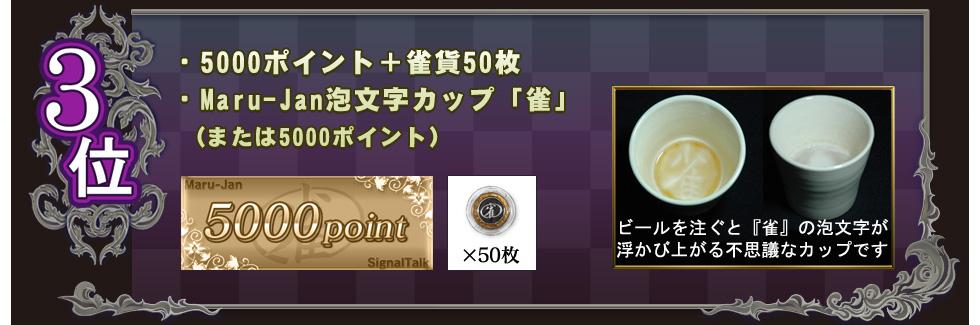 3位  ・5000ポイント+雀貨50枚 ・Maru-Jan泡文字カップ「雀」 (または5000ポイント) ビールを注ぐと「雀」の泡文字が 浮かび上がる不思議なカップです