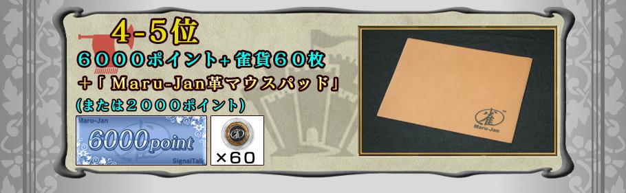 4-5位 6000ポイント+雀貨60枚 +「Maru-Jan革マウスパッド」 (または2000ポイント)