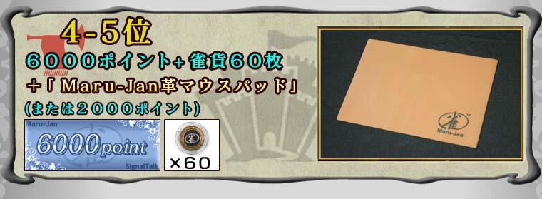 4−5位 6000ポイント+雀貨60枚 +「Maru-Jan革マウスパッド」 (または2000ポイント)