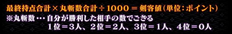 最終持点合計×丸斬数合計÷1000=剣客値(単位:ポイント) ※丸斬数…自分が勝利した相手の数でござる         1位=3人、2位=2人、3位=1人、4位=0人