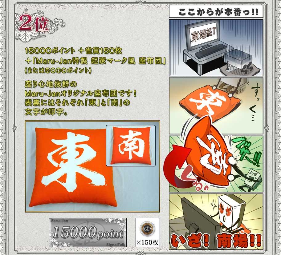 2位 15000ポイント+雀貨150枚 +「Maru-Jan特製 起家マーク風 座布団」 (または5000ポイント)  座り心地抜群のMaru-Janオリジナル座布団です! 表裏にはそれぞれ「東」と「南」の文字が印字。