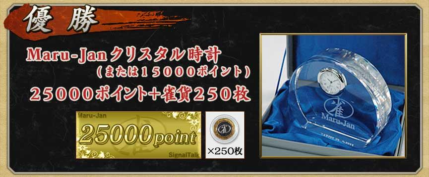 優勝 Maru-Janクリスタル時計 (または15000ポイント) 25000ポイント+雀貨250枚