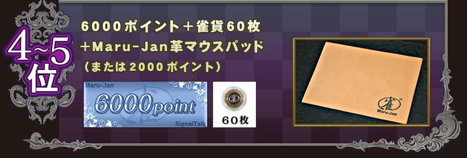 4〜5位 6000ポイント+雀貨60枚 +Maru-Jan革マウスパッド (または2000ポイント)
