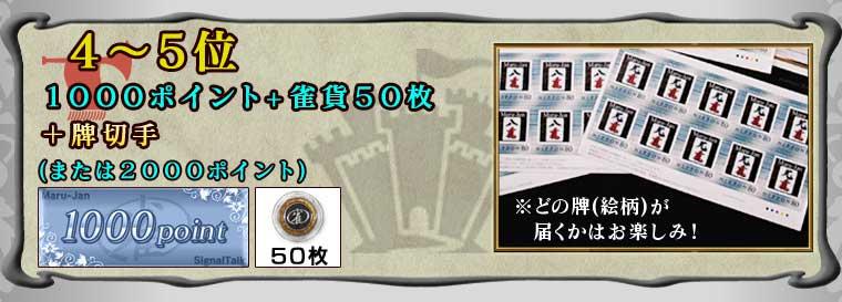 4〜5位 1000ポイント+雀貨50枚 +「牌切手」 (または2000ポイント)