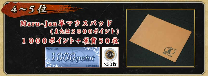 4〜5位 Maru-Jan革マウスパッド (または2000ポイント) 1000ポイント+ 雀貨50枚