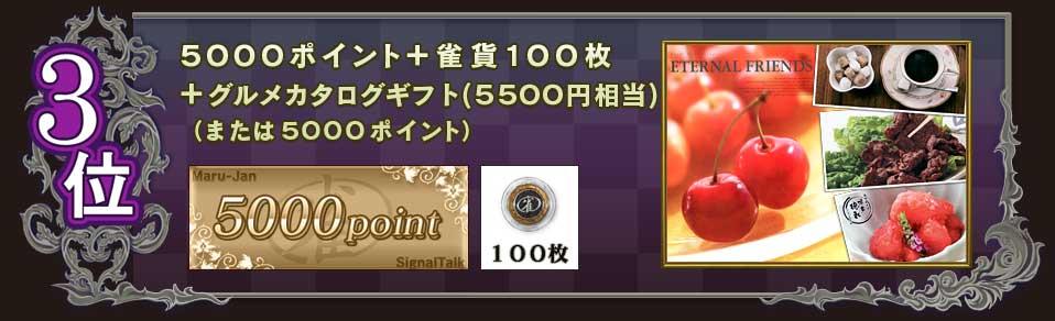 3位 5000ポイント+雀貨100枚 +グルメカタログギフト(5500円相当) (または5000ポイント)