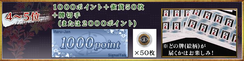 4〜5位 1000ポイント+雀貨50枚 +牌切手 (または2000ポイント)
