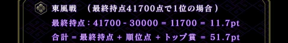 東風戦 (最終持点41700点で1位の場合) 最終持点41700-30000=11700=11.7pt 合計=最終持点+順位点+トップ賞=51.7pt
