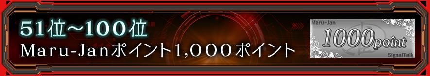 51位~100位:Maru-Janポイント1,000ポイント