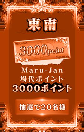 東南 3000pt Maru-Jan場代ポイント3000ポイント 抽選で20名様