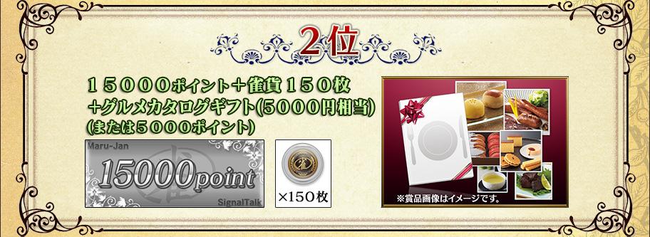 2位 15000ポイント+雀貨150枚 +グルメカタログギフト(5000円相当) (または5000ポイント)