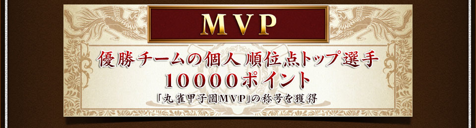 MVP 優勝チームの個人順位点トップ選手 10000ポイント 「丸雀甲子園MVP」の称号を獲得