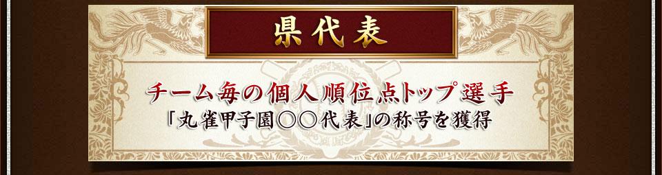 県代表 チーム毎の個人順位点トップ選手(MVPは除く) 「丸雀甲子園○○代表」の称号を獲得