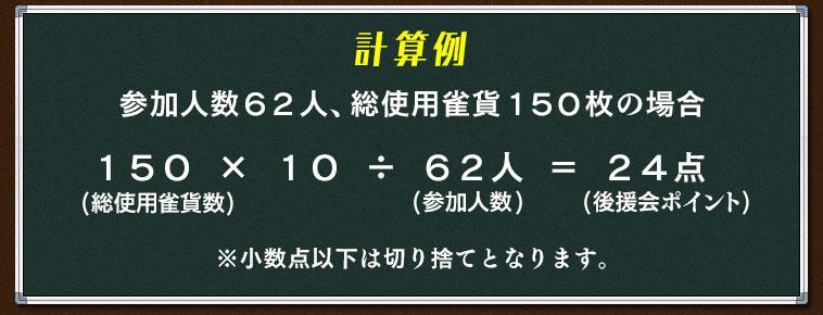 計算例 参加人数62人、総使用雀貨150枚の場合 150(総使用雀貨数) × 10 ÷ 62人(参加人数)  = 24点(後援会ポイント) ※小数点以下は切り捨てとなります。