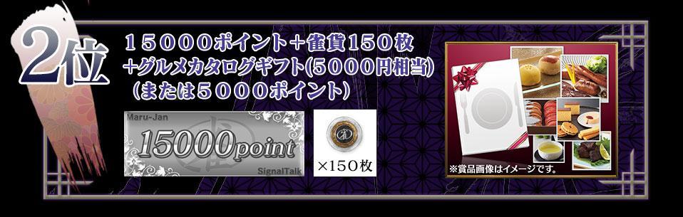 2位 14500ポイント+雀貨150枚+グルメカタログギフト(5500円相当)(または5500ポイント)