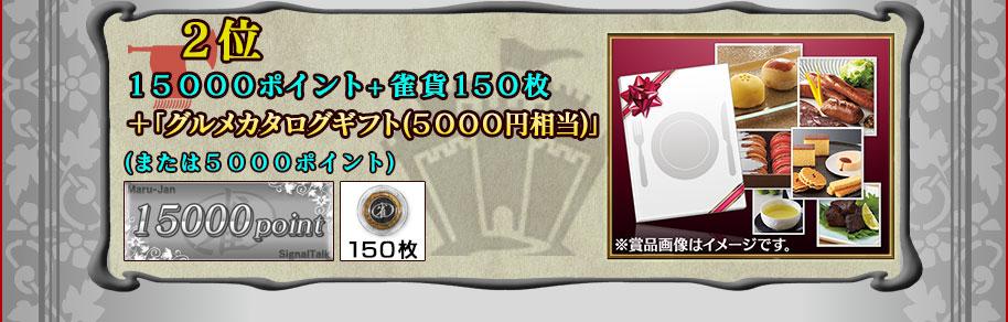 ■2位 14500ポイント+雀貨150枚+グルメカタログギフト(5500円相当)(または5500ポイント)