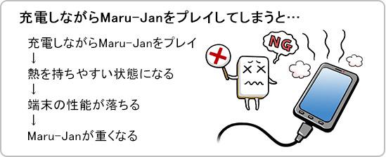 充電しながらMaru-Janをプレイしてしまうと…充電しながらMaru-Janをプレイ→熱を持ちやすい状態になる→端末の性能が落ちる→Maru-Janが重くなる