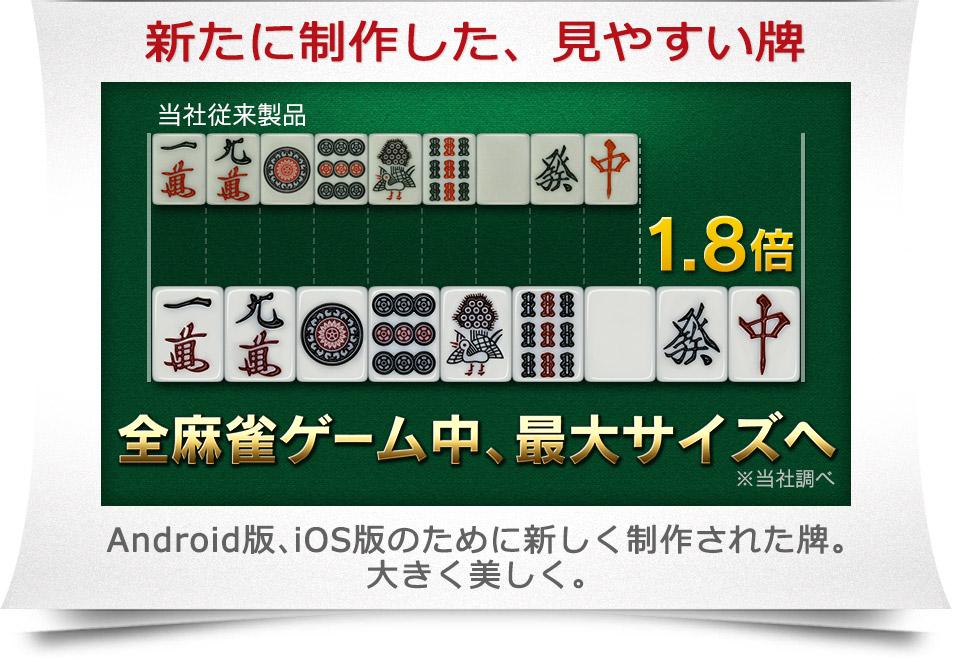 新たに制作した、見やすい牌 全麻雀ゲーム中、最大サイズへ※当社調べ Android版、iOS版のために新しく制作された牌。大きく美しく。