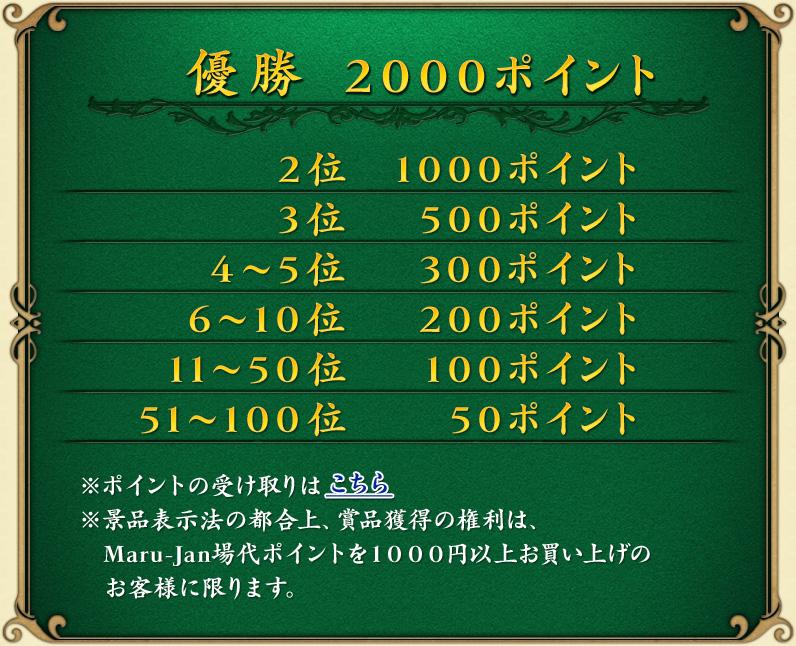 優勝 2000ポイント 2位 1000ポイント 3位 500ポイント 4~5位 300ポイント 6~10位 200ポイント 11~50位 100ポイント 51~100位 50ポイント ※ポイントの受け取りはこちら ※景品表示法の都合上、賞品獲得の権利は、Maru-Jan場代ポイントを1000円以上お買い上げのお客様に限ります。