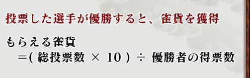 投票した選手が優勝すると、雀貨を獲得  もらえる雀貨  = (総投票数×10) ÷ 優勝者の得票数